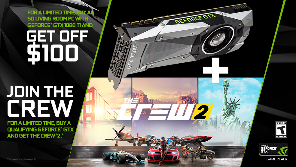 GET Crew 2 with any STEIGER DYNAMICS HTPC with GeForce GTX 1080 or 1080 Ti