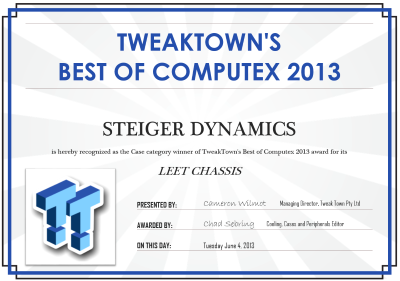 STEIGER DYNAMICS Wins TweakTown's Best of Computex 2013 Award with the World's First HTPC Chassis Optimized for Liquid Cooling